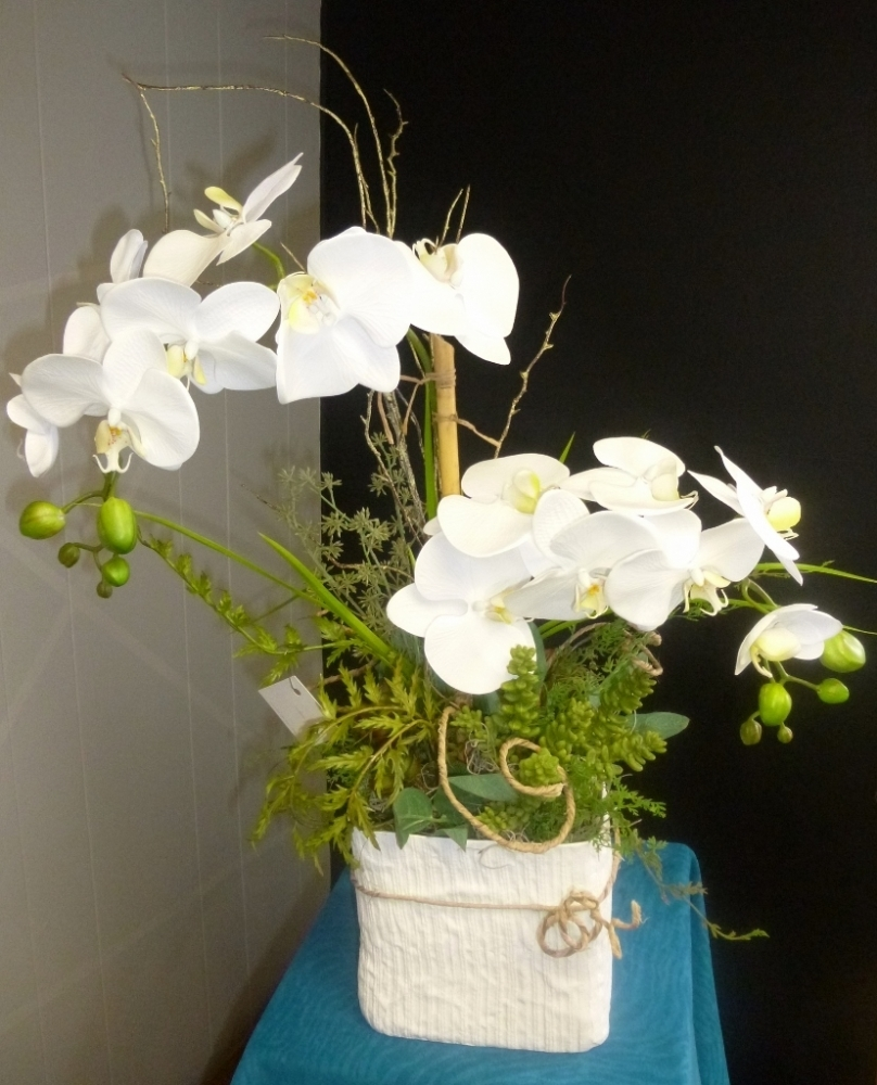 White silk orchid pot